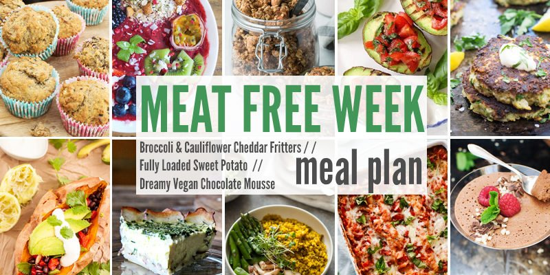 Meat Free Meal Planner: Broccoli & Cauliflower Cheddar Fritters, Fully Loaded Sweet Potato + Dreamy Vegan Chocolate Mousse