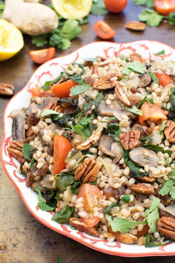 Rainbow Chard Barley Salad With Ginger Tahini Dressing Vegan Https Theflexitarian Co Uk
