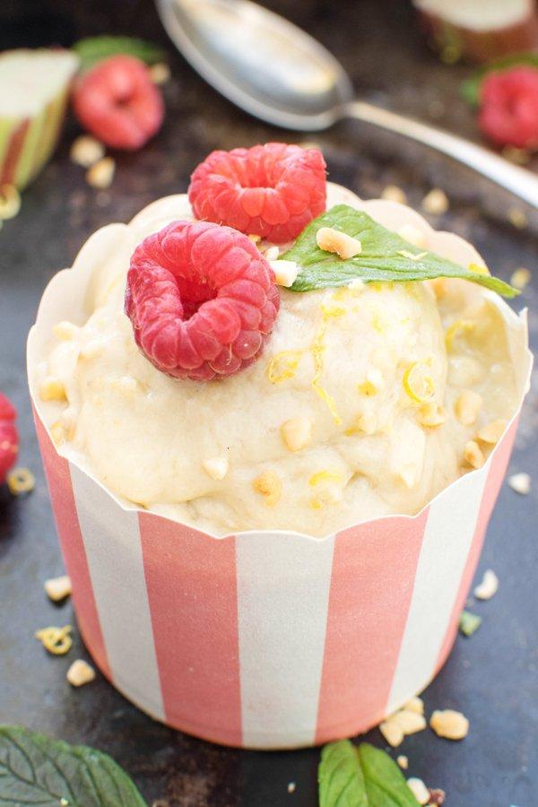 Rhubarb & Lemon Ice Cream [vegan] [gluten free] by The Flexitarian