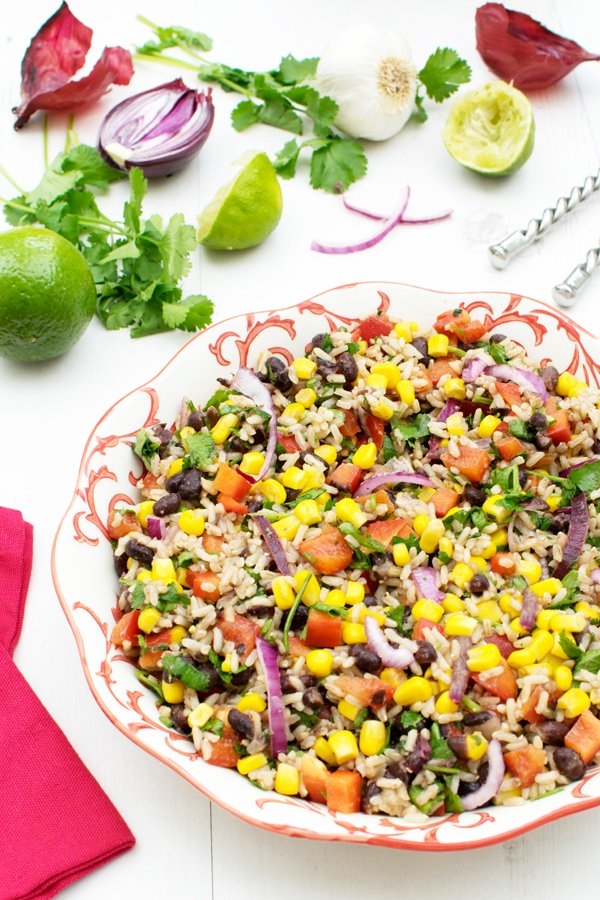 Lime & Coriander Brown Rice Bean Salad [vegan] [gluten free]
