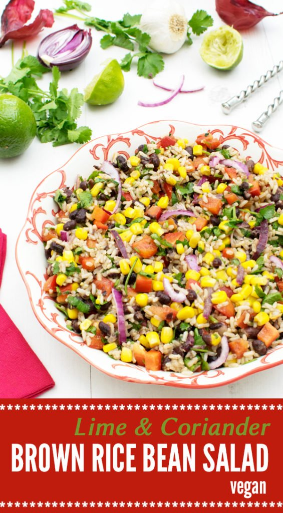 Brown Rice and Bean Lime & Coriander Salad [vegan] by The Flexitarian