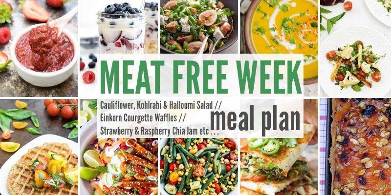 Meat Free Meal Planner: Cauliflower, Kohlrabi & Halloumi Salad, Einkorn Courgette Waffles + Strawberry & Raspberry Chia Jam