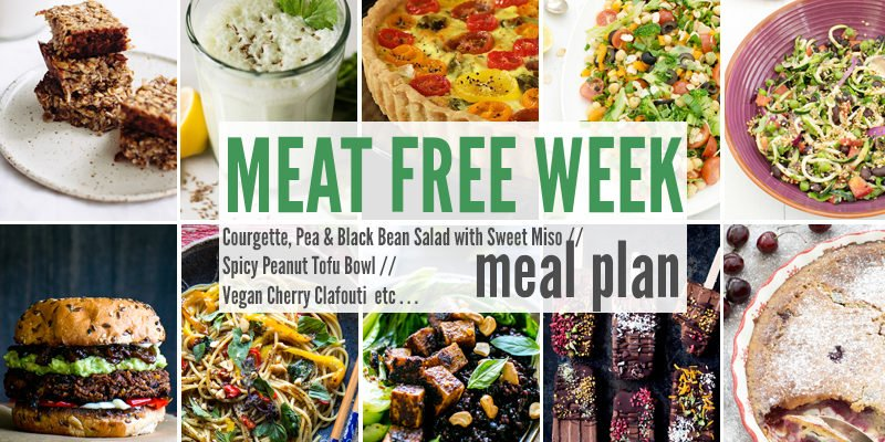 Meat Free Meal Planner: Courgette, Pea & Black Bean Salad with Sweet Miso , Spicy Peanut Tofu Bowl + Vegan Cherry Clafouti