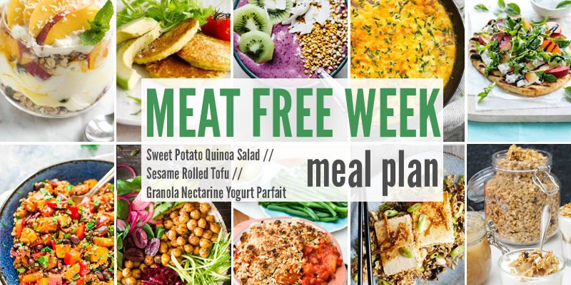 Meat Free Meal Planner: Sweet Potato Quinoa Salad, Sesame Rolled Tofu & Granola Nectarine Yogurt Parfait