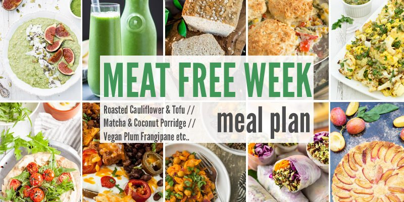 Meat Free Meal Planner: Roasted Cauliflower & Tofu, Matcha & Coconut Porridge + Vegan Plum Frangipane