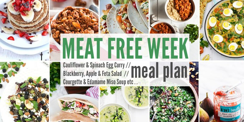 Meat Free Meal Plan: Cauliflower & Spinach Egg Curry, Blackberry, Apple & Feta Salad + Courgette & Edamame Miso Soup