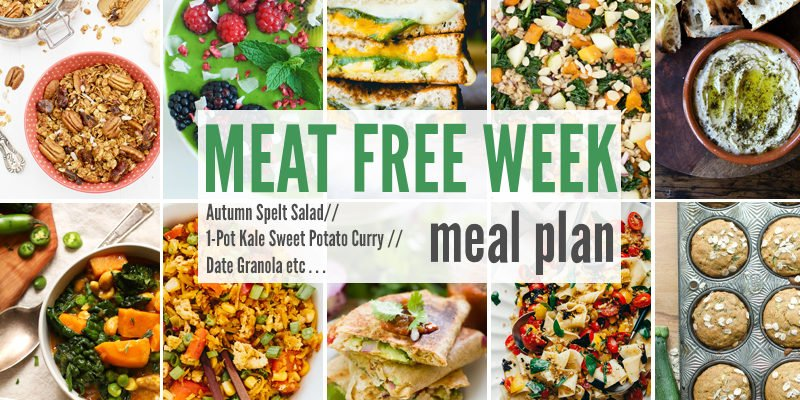 Meat Free Meal Plan: Autumn Spelt Salad, 1-Pot Kale Sweet Potato Curry + Date Granola