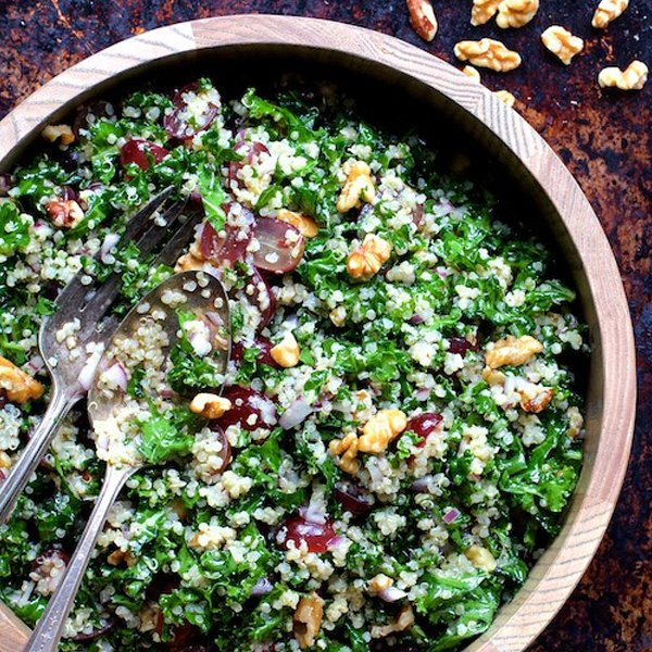 Quinoa and Kale Salad with Red Grapes Walnuts and Lemon Honey Dressing ...
