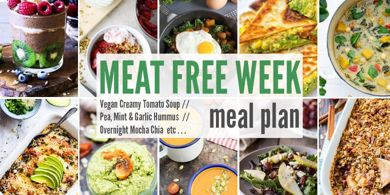 Meat Free Meal Plan: Vegan Creamy Tomato Soup, Pea, Mint & Garlic Hummus + Overnight Mocha Chia