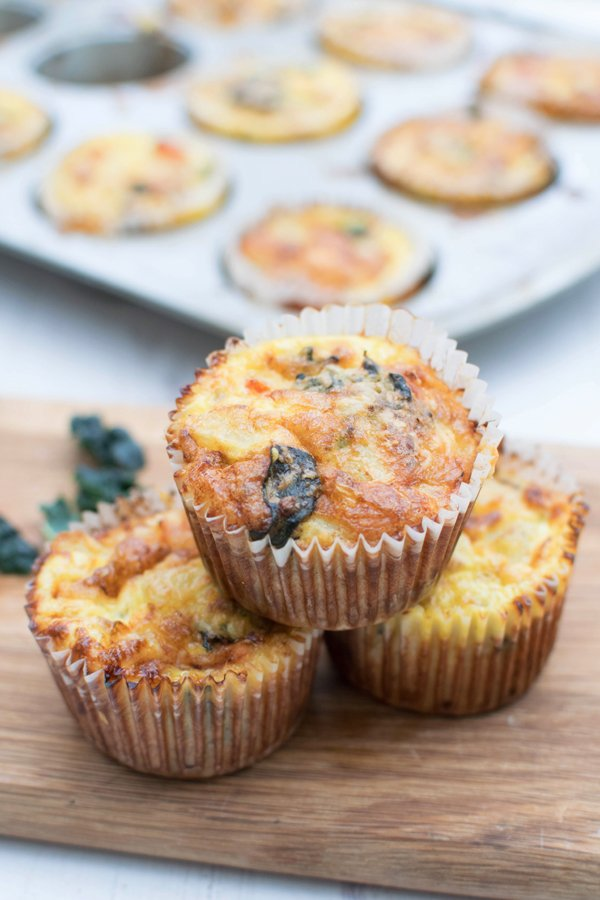 Cheesy Kale Breakfast Mini Frittatas [vegetarian] by The Flexitarian