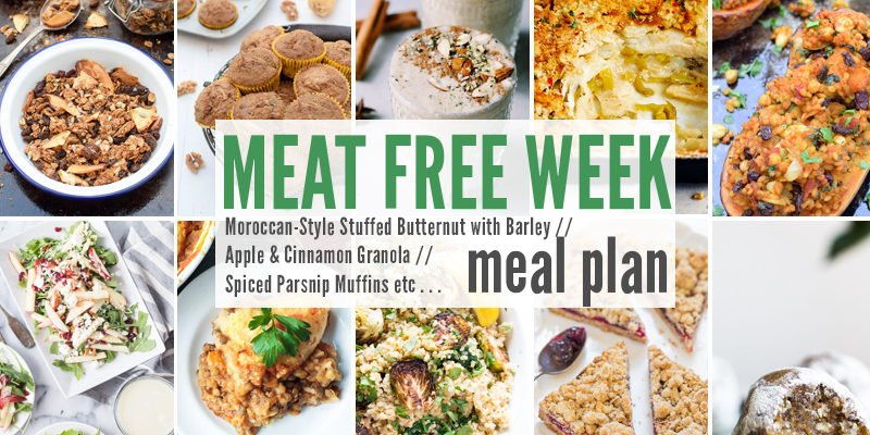 Meat Free Week Meal Plan: Moroccan-Style Stuffed Butternut with Barley, Apple & Cinnamon Granola +Spiced Parsnip Muffins