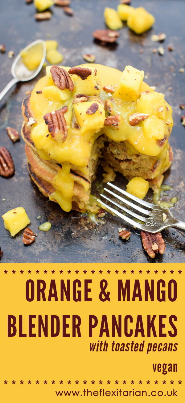 Orange & Mango Blender Pancakes With Toasted Pecans [vegan] by The Flexitarian