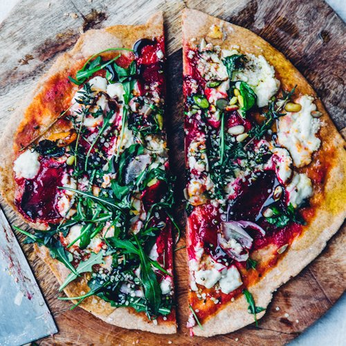 Thin Crust Spelt Pizza with Beet & Chèvre [vegetarian] by Nourish Atelier