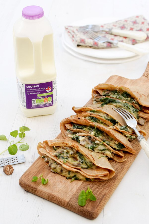 Creamy Mushrooms & Spinach High Protein Buckwheat Pancakes [vegetarian] by The Flexitarian