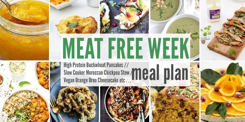 Meat Free Meal Plan: High Protein Buckwheat Pancakes, Slow Cooker Moroccan Chickpea Stew + Vegan Orange Oreo Cheesecake