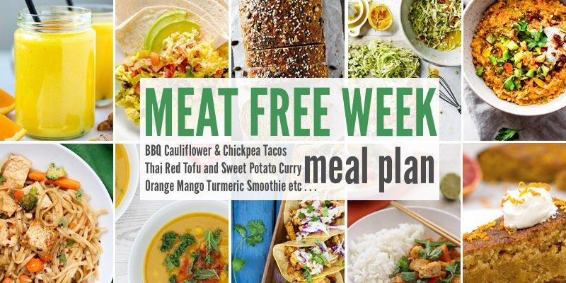 Meat Free Meal Plan: BBQ Cauliflower & Chickpea Tacos, Thai Red Tofu and Sweet Potato Curry + Orange Mango Turmeric Smoothie