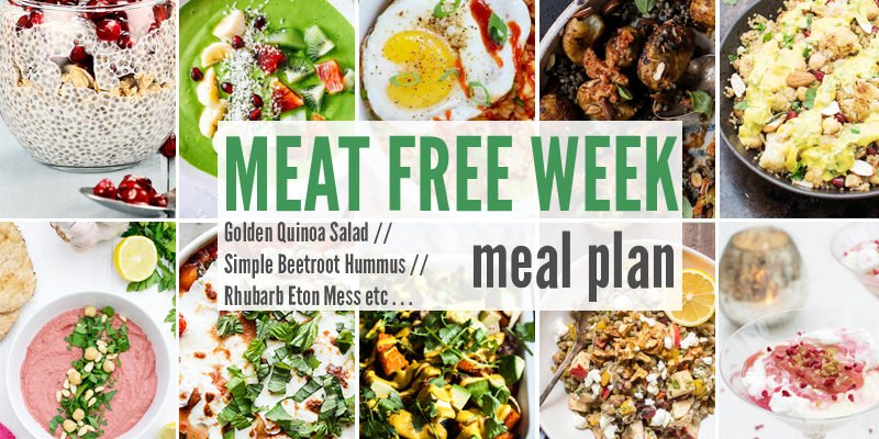Meat Free Meal Plan: Golden Quinoa Salad, Simple Beetroot Hummus  + Rhubarb Eton Mess