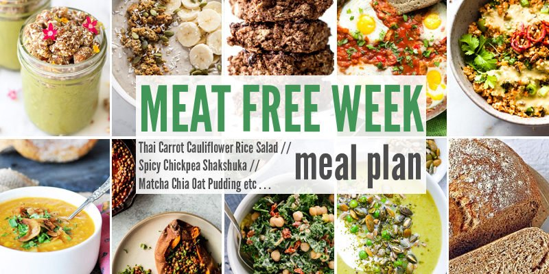 Meat Free Meal Plan: Thai Carrot Cauliflower Rice Salad, Spicy Chickpea Shakshuka + Matcha Chia Oat Pudding
