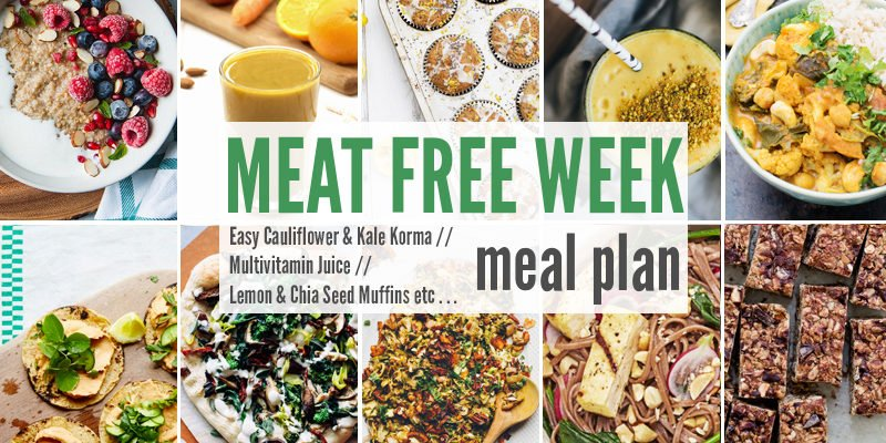 Meat Free Meal Plan: Easy Cauliflower & Kale Korma, Multivitamin Juice + Lemon & Chia Seed Muffins