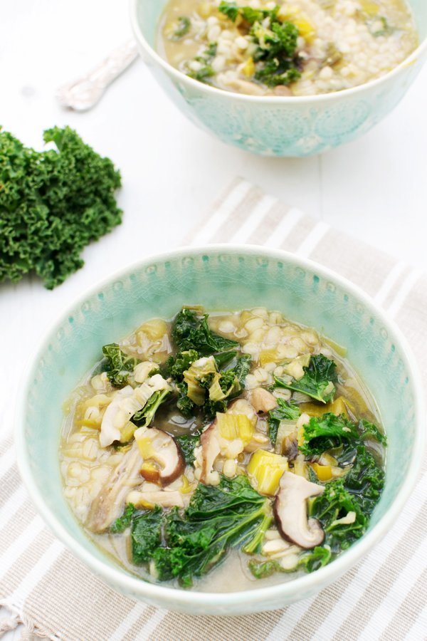 Miso Barley Soup with Leek, Shiitake and Kale [vegan] by The Flexitarian