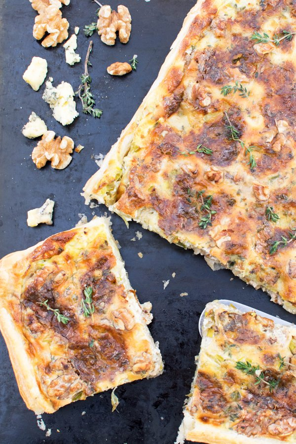 Leek, Apple, Stilton & Walnut Quiche [vegetarian] by The Flexitarian