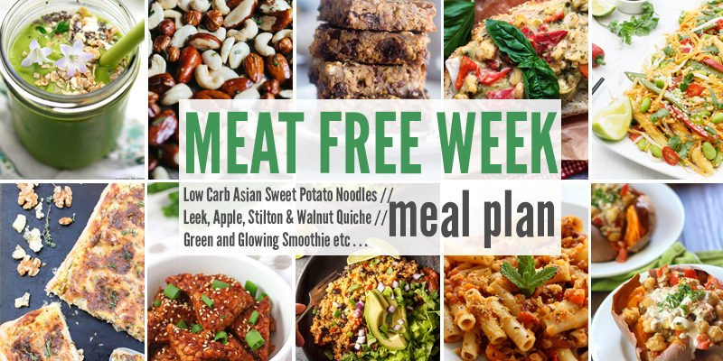Meat Free Meal Plan: Low Carb Asian Sweet Potato Noodles, Leek, Apple, Stilton & Walnut Quiche + Green and Glowing Smoothie