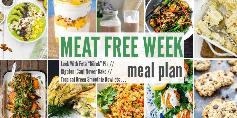 "Meat Free Meal Plan: Leek With Feta ""Börek"" Pie, Rigatoni Cauliflower Bake + Tropical Green Smoothie Bowl"