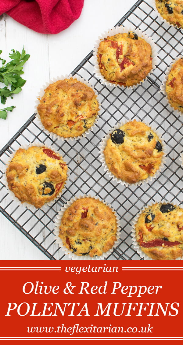 Olive & Red Pepper Polenta Muffins [vegetarian] by The Flexitarian