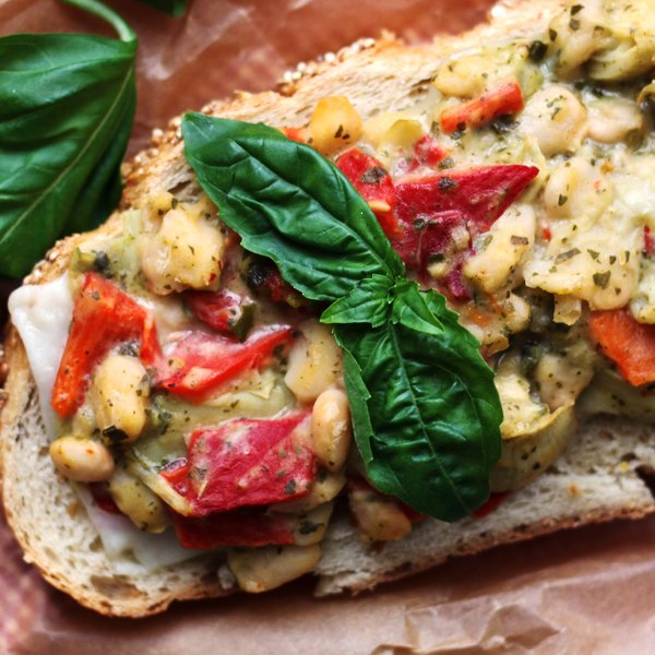 Open-faced White Bean, Artichoke, and Pesto Salad Sandwich Melts [vegetarian] by Eats Well With Others