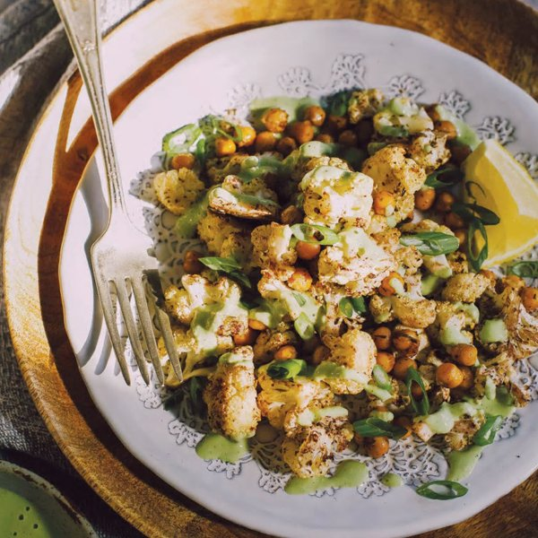 Roasted Cauliflower with Green Tahini [vegan] via Mind Body Green