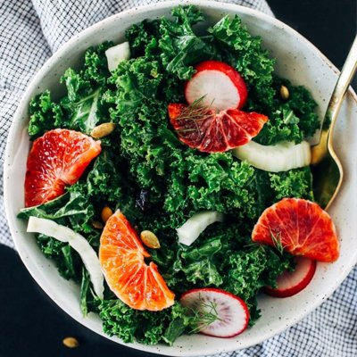 Winter Kale Salad with Lemon Dijon Dressing [vegan] via Making Thyme For Health