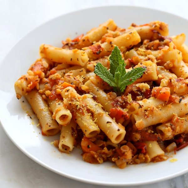 Ziti with Chipotle Lentil Tomato Sauce [vegan] by Vegan Richa