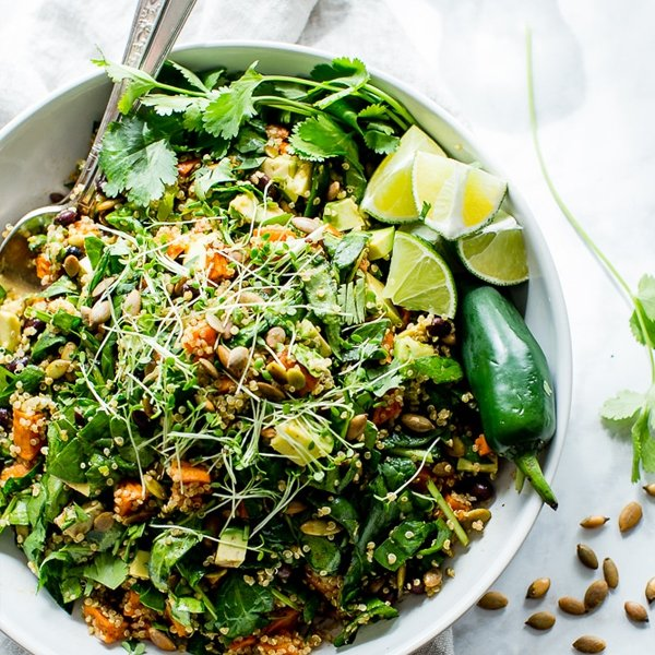 Black Bean Sweet Potato Quinoa Salad with Smoky Pepitas and Roasted Jalapeño Lime Dressing [vegan] by Vanilla & Bean
