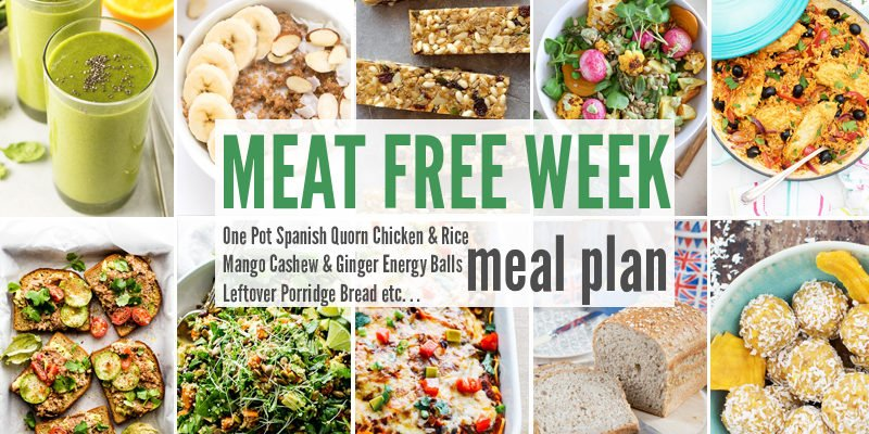 Meat Free Meal Plan: One Pot Spanish Quorn Chicken & Rice, Mango Cashew & Ginger Energy Balls + Leftover Porridge Bread