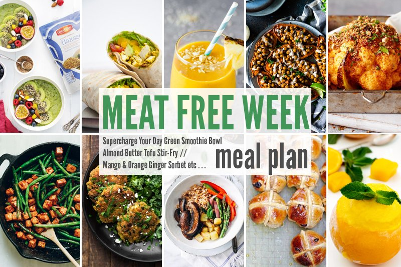 Meat Free Meal Plan: Supercharge Your Day Green Smoothie Bowl, Almond Butter Tofu Stir-Fry + Mango & Orange Ginger Sorbet