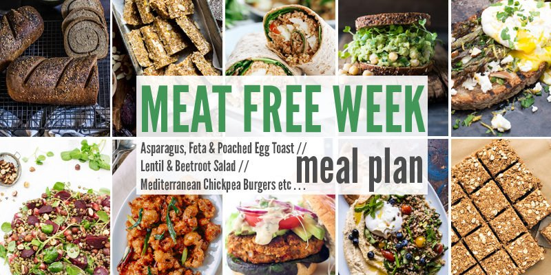 Meat Free Meal Plan: Asparagus, Feta & Poached Egg Toast, Lentil & Beetroot Salad + Mediterranean Chickpea Burgers