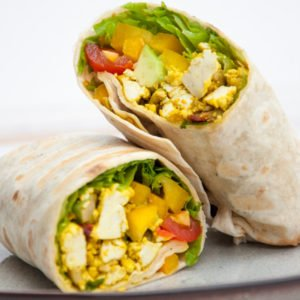 Mediterranean Tofu Scramble Breakfast Burrito [vegan] by Elephantastic Vegan