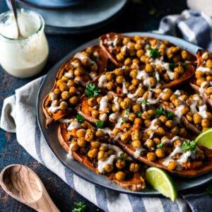 Moroccan Chickpea Stuffed Double Baked Sweet Potatoes [vegan] by Yuri Elkaim