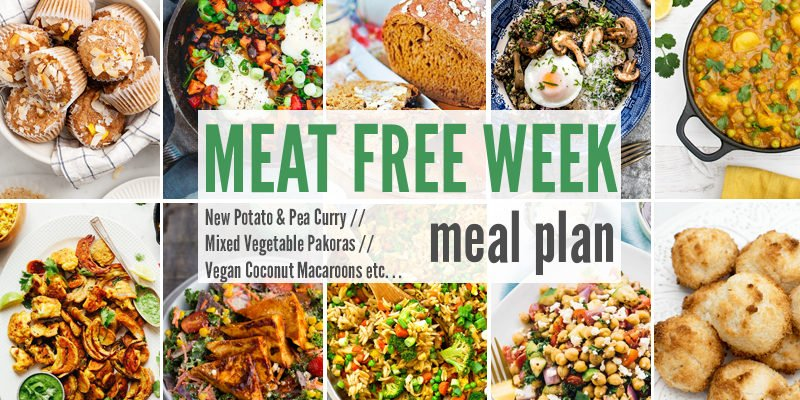 Meat Free Meal Plan: New Potato & Pea Curry, Mixed Vegetable Pakoras + Vegan Coconut Macaroons