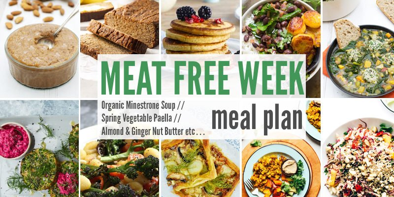 Meat Free Meal Plan: Organic Minestrone Soup, Spring Vegetable Paella + Almond & Ginger Nut Butter