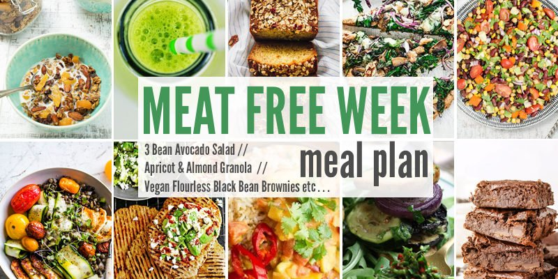 Meat Free Meal Plan: 3 Bean Avocado Salad, Apricot & Almond Granola + Vegan Flourless Black Bean Brownies