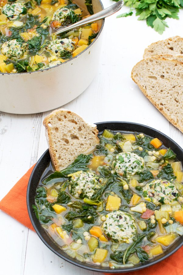 Minestrone Soup with Organic Spinach, Ricotta & Pistachio Dumplings [vegetarian]