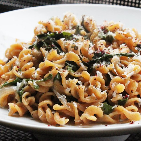 Vegetarian Citrus Pasta With Swiss Chard Recipe via Serious Eat