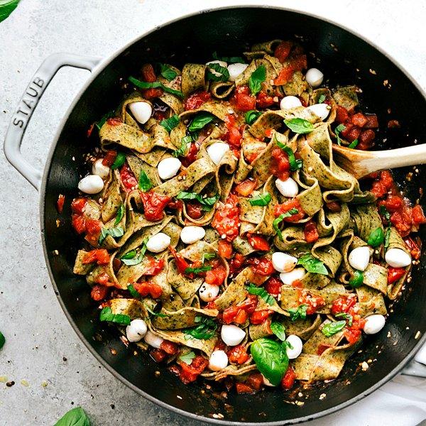 Caprese Basil Pasta [vegetarian] by Chelsea's Messy Apron