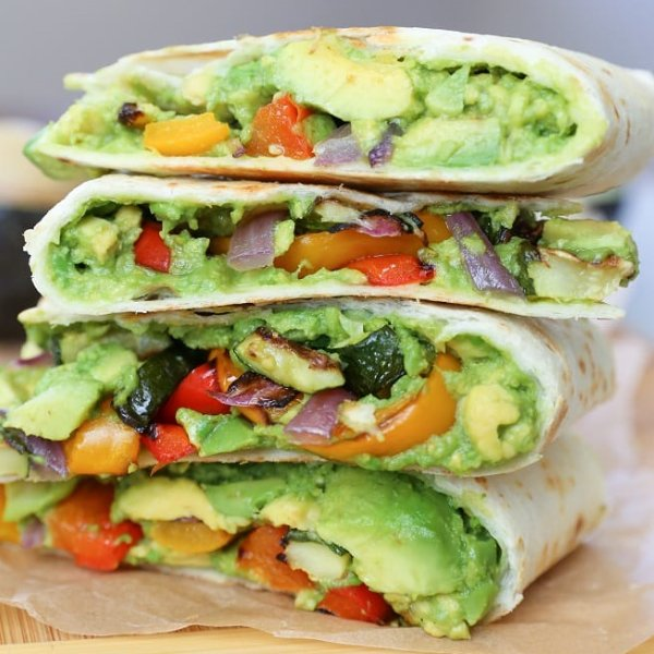 Grilled Vegetable Avocado Quesadillas with Chipotle Cashew Cream [vegan] by The Roasted Root