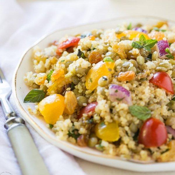 Lentil Quinoa Salad with Raisins and Lemon Dressing [vegan] by Noshtastic