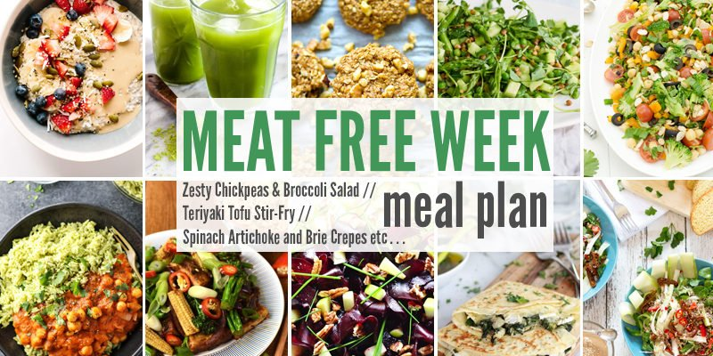 Meat Free Meal Plan: Zesty Chickpeas & Broccoli Salad, Teriyaki Tofu Stir-Fry + Spinach Artichoke and Brie Crepes