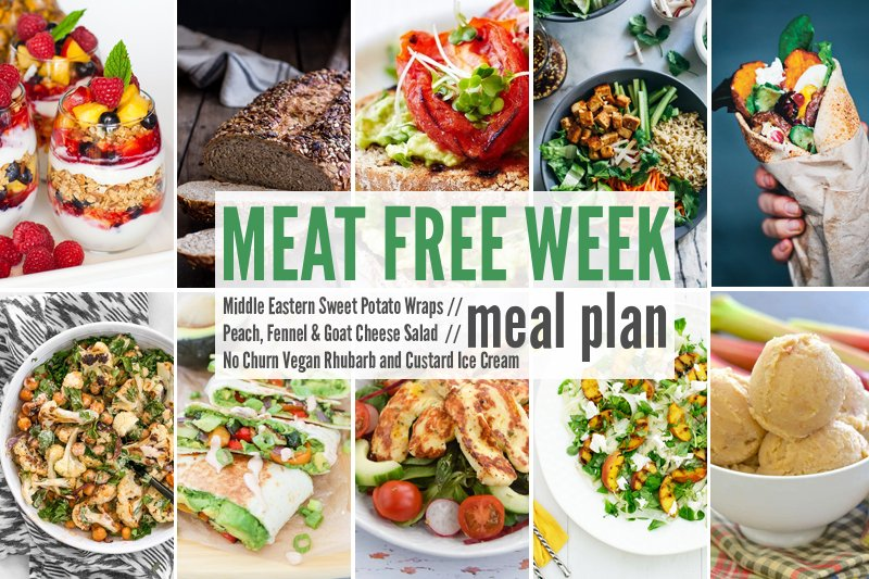 Meat Free Meal Plan: Middle Eastern Sweet Potato Wraps, Peach, Fennel & Goat Cheese Salad + No Churn Vegan Rhubarb and Custard Ice Cream