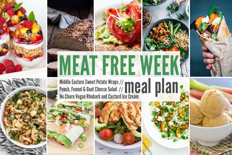 Meat Free Meal Plan: Middle Eastern Sweet Potato Wraps, Peach, Fennel & Goat Cheese Salad + No Churn Vegan Rhubarb and Custard Ice Cream