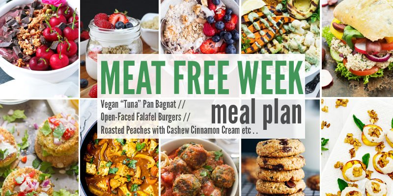 "Meat Free Meal Plan: Vegan ""Tuna"" Pan Bagnat, Open-Faced Falafel Burgers + Roasted Peaches with Cashew Cinnamon Cream"